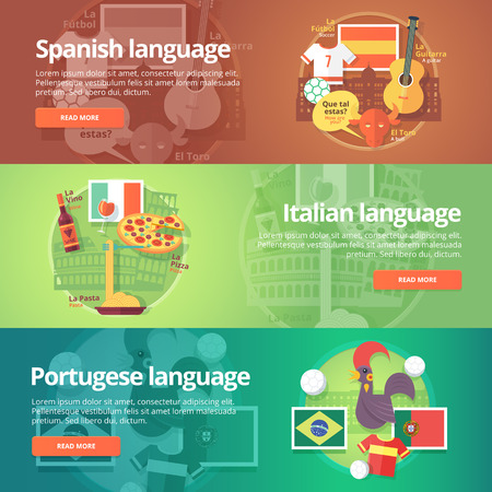 dialect: Foreign languages learning banner set. Design illustration for Spanish, Italian and Portuguese language. Colorful vector flat concepts horizontal layout.