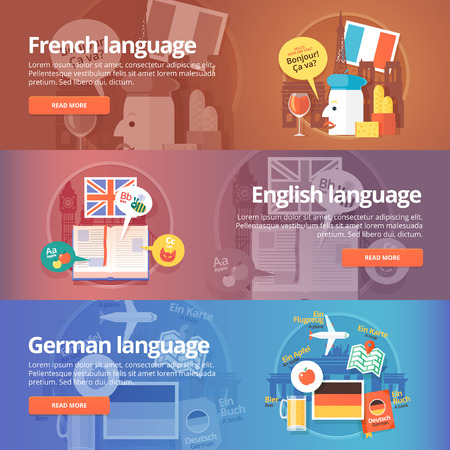 interpreter: Foreign languages learning banner set. Design illustration for French, English and German language. Colorful vector flat concepts horizontal layout.