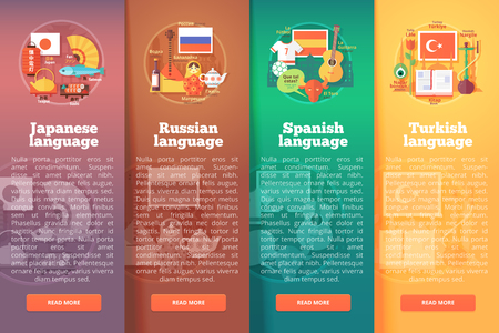 foreign language: Vertical banners set of foreign language schools. Flat vector colorful illustration concepts of Japanese, Russian, Spanish. and Turkish languages. For brochure, booklet, print and web materials.