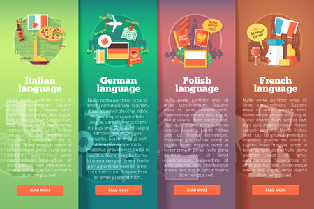 talking dictionary: Vertical banners set of foreign language schools. Flat vector colorful illustration concepts of Italian, German, Polish and French languages. For brochure, booklet, print and web materials.