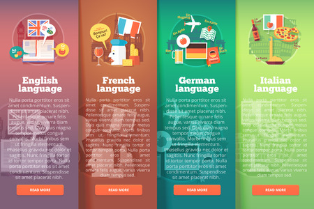 talking dictionary: Vertical banners set of foreign language schools. Flat vector colorful illustration concepts of British English, French, German and Italian languages. For brochure, booklet, print and web materials. Illustration
