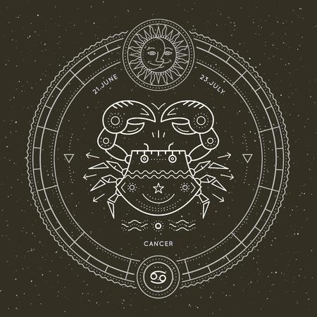 cancer zodiac: Vintage thin line Cancer zodiac sign label. Retro vector astrological symbol, mystic, sacred geometry element, emblem, logo. Stroke outline illustration. Illustration