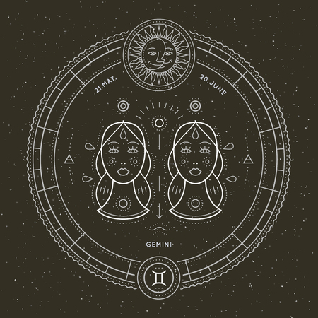 Vintage thin line Gemini zodiac sign label. Retro vector astrological symbol, mystic, sacred geometry element, emblem, logo. Stroke outline illustration. Illustration