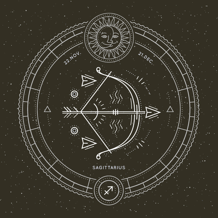 Vintage thin line Sagittarius zodiac sign label. Retro vector astrological symbol, mystic, sacred geometry element, emblem, logo. Stroke outline illustration.