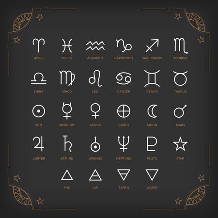 astrologie: Astrologie Symbole und mystischen Zeichen. Set von astrologischen Grafik-Design-Elemente. Vector Icons Sammlung. Illustration