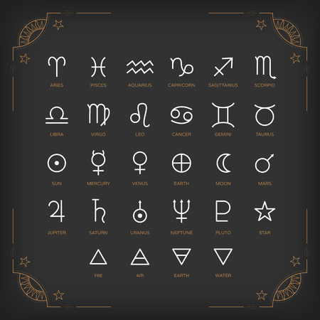 astrology: Astrology symbols and mystic signs. Set of astrological graphic design elements. Vector icons collection.
