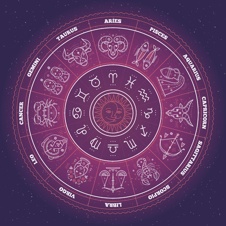 mystic: Zodiac circle with horoscope signs. Thin line vector design. Astrology symbols and mystic signs. Illustration