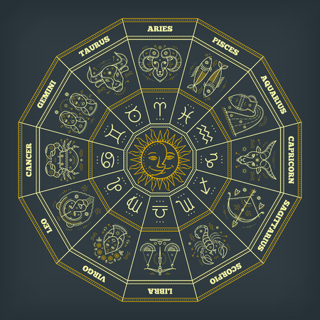 Zodiac circle with horoscope signs. Thin line vector design. Astrology symbols and mystic signs. Illustration