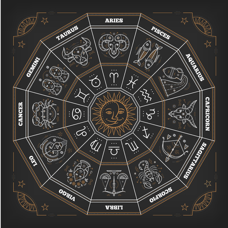zodiacal symbol: Zodiac circle with horoscope signs. Thin line vector design. Astrology symbols and mystic signs. Illustration
