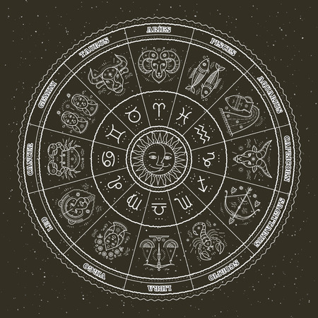 Astrologie Symbole und mystischen Zeichen. Zodiac Kreis mit Horoskopzeichen. Dünne Linie Vektor-Design. Vektorgrafik