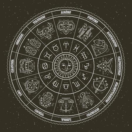 símbolos de la astrología y signos místicos. Círculo del zodiaco con las muestras del horóscopo. diseño de la línea vector delgada. Ilustración de vector