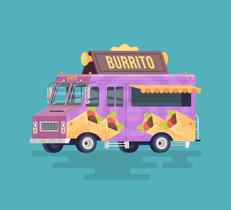 arabian food: Vector colorful flat burrito truck. Arabian and Eastern traditional cuisine. Cartoon food truck illustration.