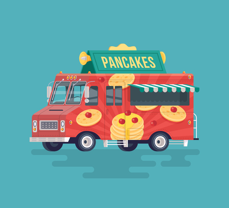 Vector colorful flat pancakes truck. Food truck. Street cuisine. Cartoon food truck illustration. Illustration