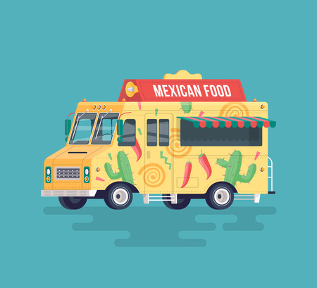 Vector colorful flat Mexican food truck. Traditional Mexican street cuisine. Street cuisine. Cartoon food truck illustration.