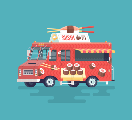 side dish: Vector colorful flat sushi truck. Japanese traditional cuisine. Street cuisine. Cartoon food truck illustration.