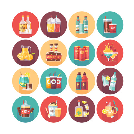 long drink: Drink and beverage icon collection. Flat vector circle icons set with long shadow. Food and drinks. Illustration