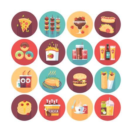 Fastfood, junk food, snack meal. Flat vector circle icons set with long shadow. Food and drinks. Illustration