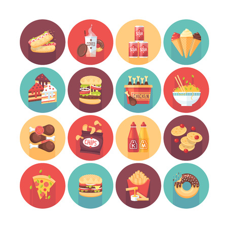 Fastfood, junk food, snack meal. Flat vector circle icons set with long shadow. Food and drinks. Stock Illustratie