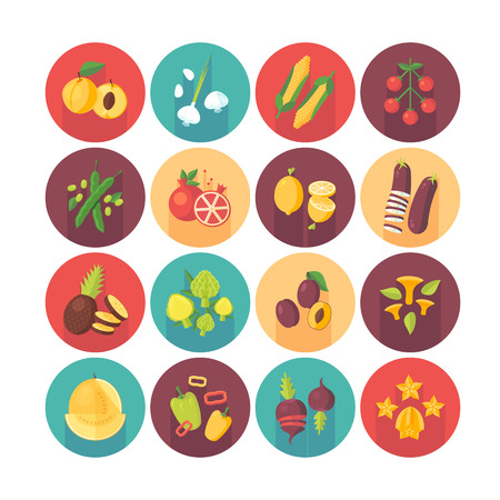 side dish: Fruits and vegetables, organic vegetarian food, healthy diet icons collection. Flat vector circle icons set with long shadow. Food and drinks.