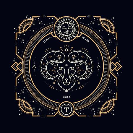 Vintage thin line Aries zodiac sign label. Retro vector astrological symbol, mystic, sacred geometry element, emblem. Stroke outline illustration.