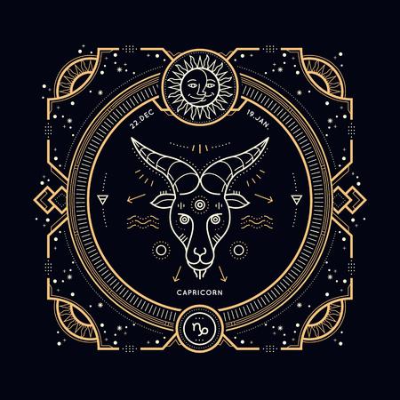 Vintage thin line Capricorn zodiac sign label. Retro vector astrological symbol, mystic, sacred geometry element, emblem. Stroke outline illustration.