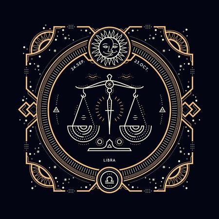 Vintage thin line Libra zodiac sign label. Retro vector astrological symbol, mystic, sacred geometry element, emblem. Stroke outline illustration.