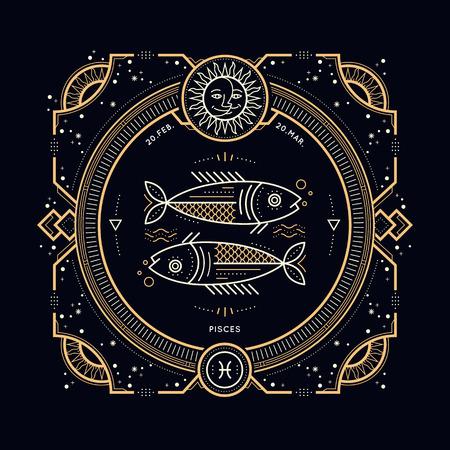 mystic: Vintage thin line Pisces zodiac sign label. Retro vector astrological symbol, mystic, sacred geometry element, emblem. Stroke outline illustration. Illustration