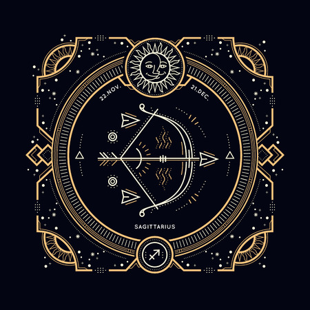 zodiacal symbol: Vintage thin line Sagittarius zodiac sign label. Retro vector astrological symbol, mystic, sacred geometry element, emblem. Stroke outline illustration.