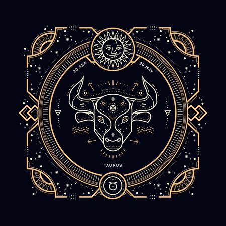 ビンテージの細い線おうし座星座記号ラベル。レトロなベクトル占星術記号、神秘的な神聖なジオメトリ要素、エンブレム。ストロークの概要図。  イラスト・ベクター素材