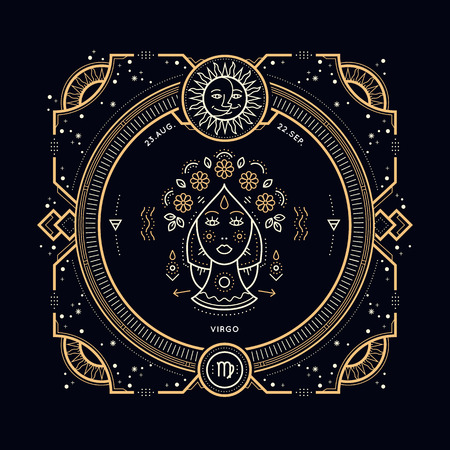 zodiacal symbol: Vintage thin line Virgo zodiac sign label. Retro vector astrological symbol, mystic, sacred geometry element, emblem. Stroke outline illustration.