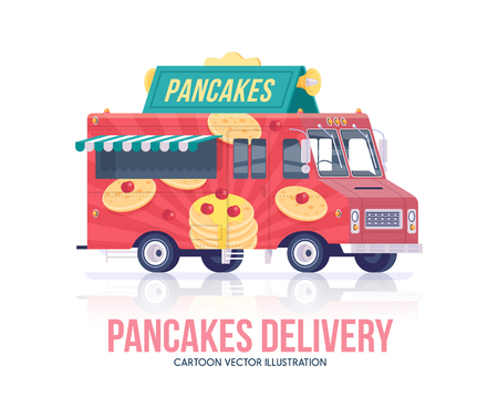 Pancakes truck. Vector pancake wagon. Street cuisine. Delivery service. Flat illustration.