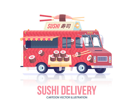 Sushi truck. Vector Japanese food wagon. Street cuisine. Delivery service. Flat illustration.