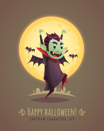 scaring: Funny scaring vampire. Halloween cartoon character concept. Vector illustration. Illustration