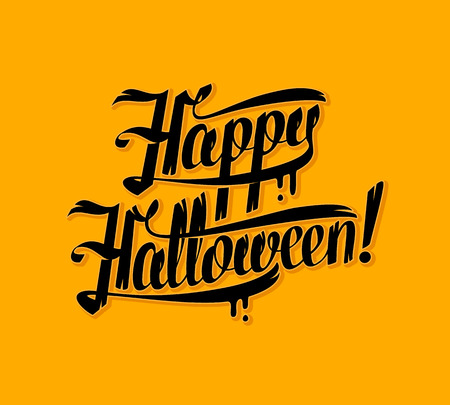 greeting card background: Halloween lettering greeting card. Vector illustration background.