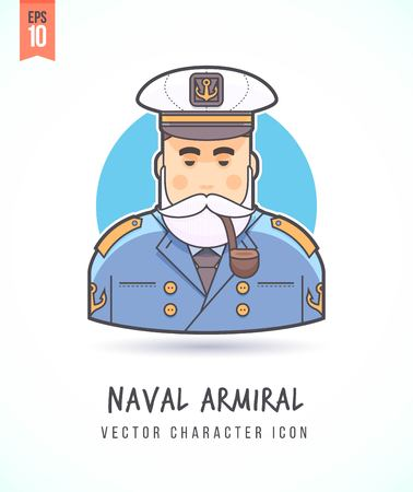 Naval admiral sea wolf marine commander in uniform illustration People lifestyle and occupation Colorful and stylish flat vector character icon