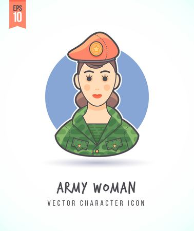 army face: Military woman in camouflage uniform illustration People lifestyle and occupation Colorful and stylish flat vector character icon