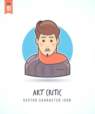 critic: Art critic reviewer illustration People lifestyle and occupation Colorful and stylish flat vector character icon
