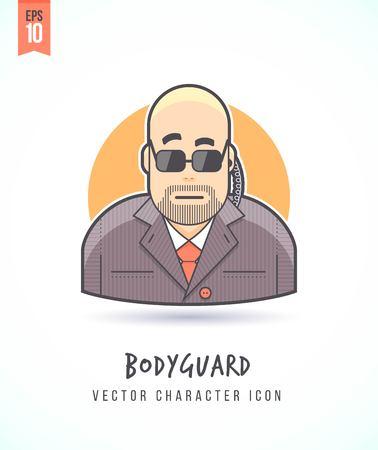 agent de sécurité: homme Bodyguard en costume et lunettes avec l'agent de sécurité de fil d'oreille illustration Les gens mode de vie et de travail coloré et élégant icône de caractère vectoriel plat