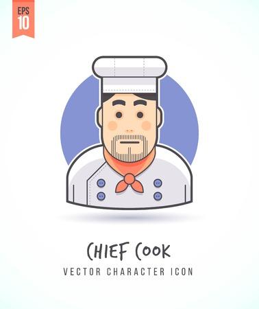 Chef Kok cartoon man illustratie Mensen levensstijl en beroep Kleurrijk en stijlvol karakter icon flat vector