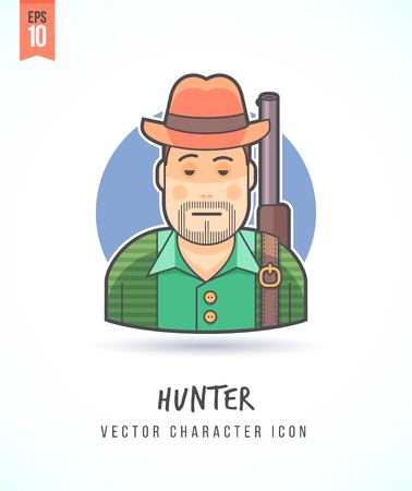 Huntsman with gun rifle illustration People lifestyle and occupation Colorful and stylish flat vector character icon