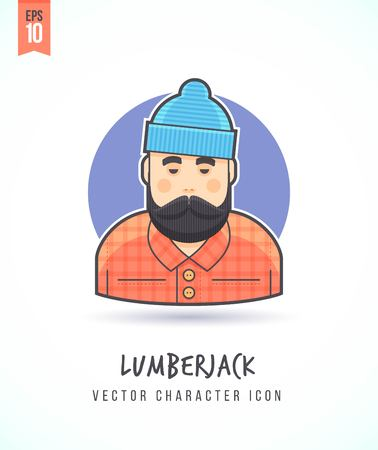 Lumberjack man with long beard Hipster style woodcutter illustration People lifestyle and occupation Colorful and stylish flat vector character icon