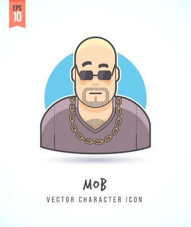thug: Strong looking thug man Mob illustration People lifestyle and occupation Colorful and stylish flat vector character icon