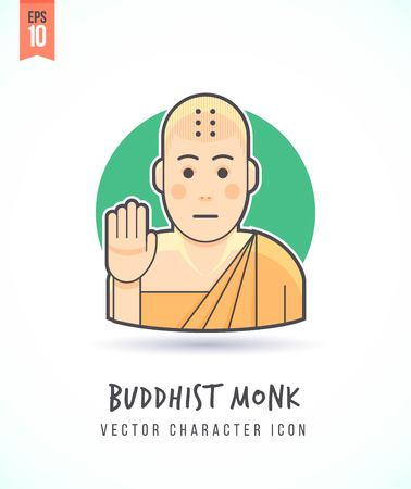 nirvana: Buddhist monk in greeting posture illustration People lifestyle and occupation Colorful and stylish flat vector character icon