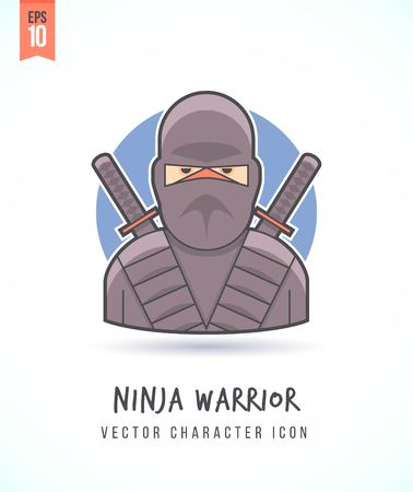 assasin: Japanese ninja warrior illustration People lifestyle and occupation Colorful and stylish flat vector character icon