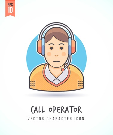 Call center operator Customer support helper illustration People lifestyle and occupation Colorful and stylish flat vector character icon
