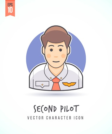 Copilot Second pilot illustration illustration People lifestyle and occupation Colorful and stylish flat vector character icon Illustration