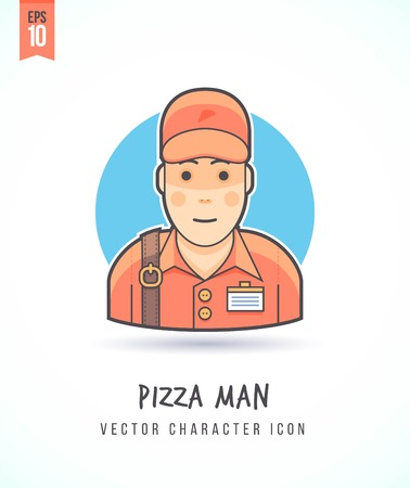 delivery boy: Pizza delivery boy illustration People lifestyle and occupation Colorful and stylish flat vector character icon Illustration