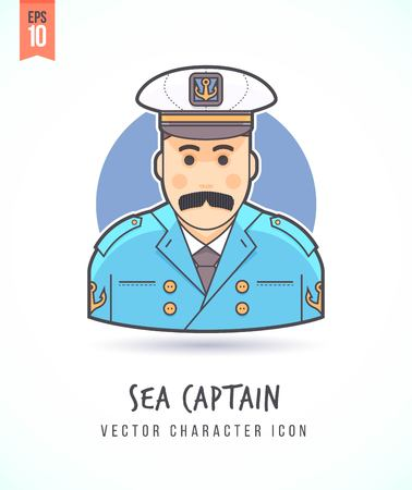 naval: Naval captain Military Sailor illustration People lifestyle and occupation Colorful and stylish flat vector character icon