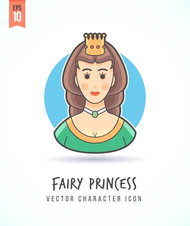 Fairy beautiful princess in golden crown and dress illustration People lifestyle and occupation Colorful and stylish flat vector character icon Illustration