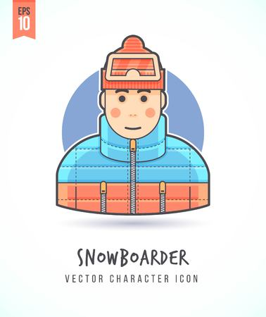 Snowboarder in warm cloth illustration People lifestyle and occupation Colorful and stylish flat vector character icon